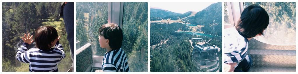 niño mirando por la ventana de un teleférico